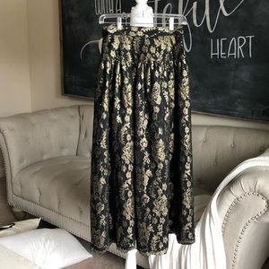 Vintage black and gold maxi skirt high waisted